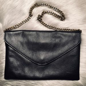 J Crew Leather Envelope Bag with Brass Chain Strap